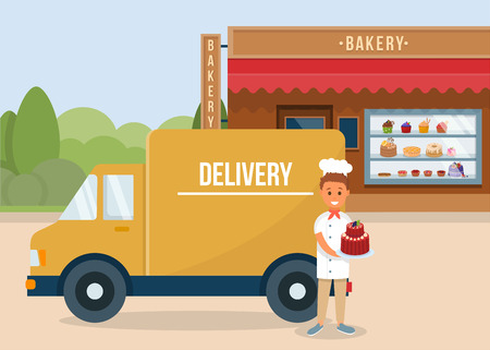 Illustration pour Baking Order and Delivery Concept. Homemade Bakery. Courier Man with Cake near Truck. Bakery Shop Building Facade. Fresh Baking and Cake Decoration. Showcase with Sweets. Vector Flat Illustration. - image libre de droit