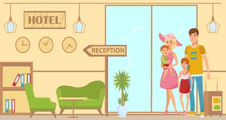 Illustration pour Family arrived to hotel flat illustration. Lobby and reception interior design. Hotel check in. Parents with kids, baggages standing in hall. Holidaymakers characters. Summer vacation banner concept - image libre de droit
