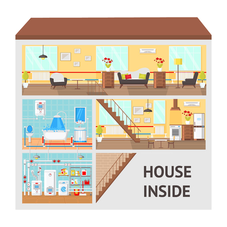 Illustration pour House Inside Concept Flat Vector Illustration. Living Room, Kitchen, Bathroom, Laundry, Boiler Room. Article Page, Website. Building Clipart with Text. Home Indoor Interior. Print Color Design Drawing - image libre de droit