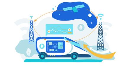 Illustration pour Self Driving Car. Artificial Intelligence Vehicle. Driverless Autonomus Robot Technology with Gps System. Futuristic Autopilot Navigation Control. Automotive Transport with Radar Sensor. - image libre de droit