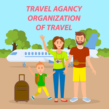 Illustration pour Family Traveling by Plane Social Media Banner. Travel Agency Vector Poster with Text, Lettering. Parents with Son in Departure Lounge Flat Drawing. Tourists with Suitcases Cartoon Characters - image libre de droit