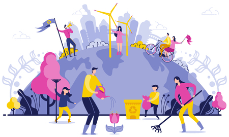 Illustration pour Planet Wide Garbage Disposal Flat Illustration. Arge-scale Cleaning on Planet. People Care about Environment. Use Safe Green Energy. Parents and Children Collect Garbage, Water Flowers. - image libre de droit