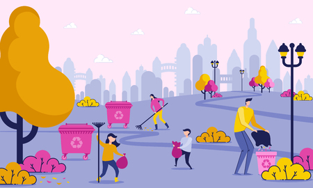 Illustration for Family Days Off is Cleaning up Trash in Park. Group People Bagging Waste Scattered in Green Area City. Men and Women Care about Cleanliness City. Vector Illustration. Eco Material. - Royalty Free Image