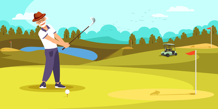 Illustration for Aged Golfer Hitting Long Shot on Beautiful Golf Course Landscape Background. Elderly Man Play Alone at Summer Time. Healthy Lifestyle. Cartoon Flat Vector Illustration Cartoo? Flat Vector Illustration - Royalty Free Image