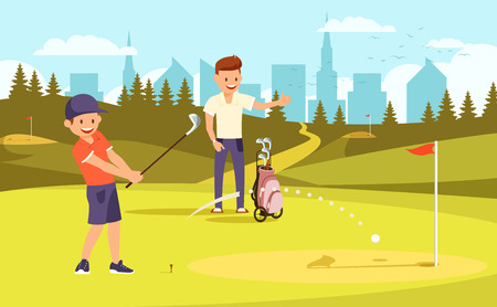 Illustration pour Junior Golfer Practicing on Driving Range, Father Watch Training. Dad and Son Passing Time Together Playing Golf at Summer Day. Family Leisure. Green Course Background Cartoon Flat Vector Illustration - image libre de droit