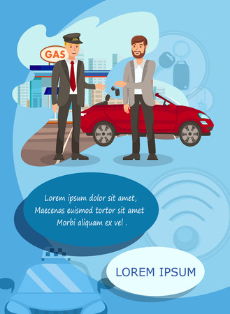 Taxi Service Parking Flat Vector Illustration Gas Station Young Man Gives Car Keys To Chauffeur Cartoon Characters Transport Rent Driver And Passenger Vertical Flyer Brochure Poster Design موقع تصميمي