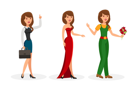 Ilustración de Girls Cartoon Vector Isolated Color Characters Set. Formal, Evening, Casual Dress Code, Outfit. Business Woman with Suitcase and Raised Index Finger. Elegant Lady in Evening Gown. Gardener and Flowers - Imagen libre de derechos