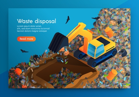 Illustration for Flat Landing Waste Disposal at Huge Garbage Dump. Volunteer on Bulldozer Cleans Garbage Under Ground so that Decomposes there. Around Car Flying Crows. Disposal for Cleansing Planet from Waste - Royalty Free Image