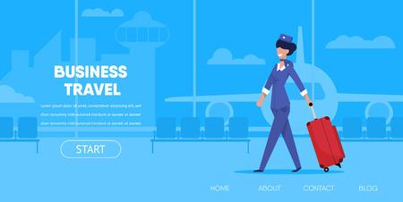 Ilustración de Business Travel Concept. Cartoon Woman Stewardess in Uniform with Suitcase Luggage Airport Terminal Vector Illustration. Internet App Interface Online Buy Flight Ticket Tourism Company - Imagen libre de derechos