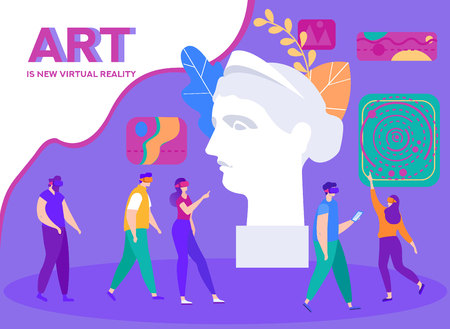 Illustration pour Banner is Written Art is New Virtual Reality. Girls and Boys use Interactive Equipment. Visiting Museums and Exhibitions with 3D Virtual Tours. Foreground Antique Sculpture Womans Head. - image libre de droit