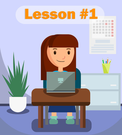Illustration pour Girl Learning Using Laptop on Lesson Banner Vector Illustration. Classroom for Studying with Calendar, Desk, Table with Colorful Pencils. Searching for Information via Internet. Online Education. - image libre de droit