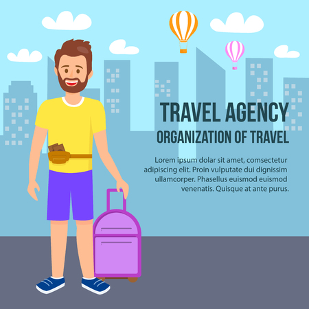 Illustration pour Travel Agency Square Banner. Young Bearded Man Wearing Summer Clothing with Purse on Waist and Luggage in Hand Stand on Cityscape Background. Air Balloons Fly in Sky. Cartoon Flat Vector Illustration. - image libre de droit