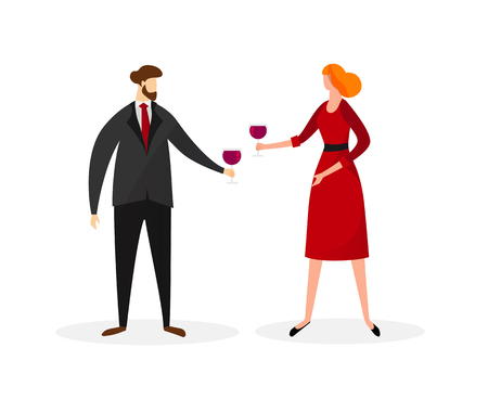Young Man and Woman in Festive Dressing Clinking Glasses with Red Wine Isolated on White Background. People Celebrating. Party, Loving Dating Characters. Cartoon Flat Vector Illustration. Clip Art.