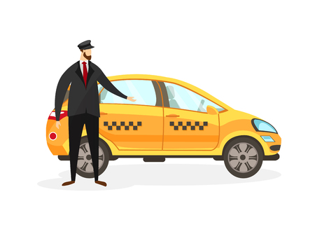 Illustration pour Bearded Taxi Driver Stand near Yellow Car Isolated on White Background. Young Faceless Man Character in Uniform Invite to Sit in Transport. Male Profession. Cartoon Flat Vector Illustration. Clip Art. - image libre de droit