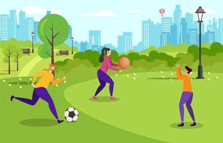 Active Recreation Outdoors Motivate Flat Banner Cartoon Vector People Family Business Team Friends Playing Balls City Park Illustration Leisure Time Mind Restart Work Break Holidays Healthy Lifestyle