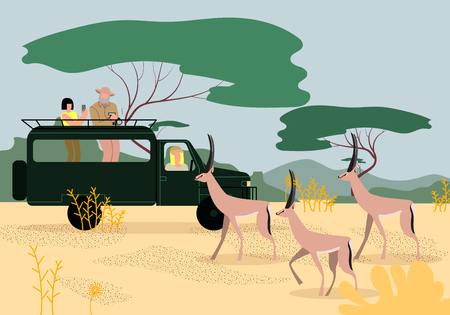 Ilustración de Man and Women Tourists Driving Jeep on Safari in Africa, Traveling and Watching Wildlife in Savanna, Making Pictures on Phone and Photo Camera of Beautiful Gazelles. Cartoon Flat Vector Illustration. - Imagen libre de derechos