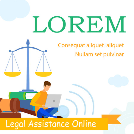 Illustration pour Lawyer School, Law Practice Web Banner Template. Jurisprudence Consulting, Legal Advice, Support, E-learning Web Banner. Attorney Answers Clients Questions Online Cartoon Character - image libre de droit