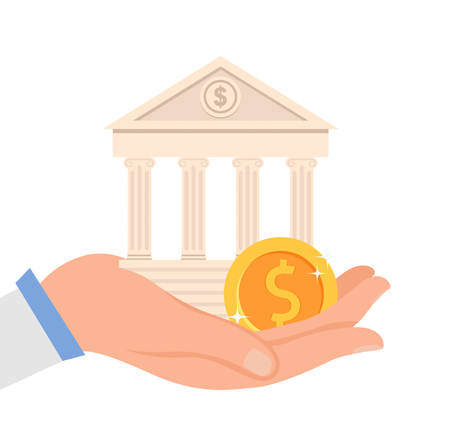 Illustration pour Financial Institution Flat Vector Illustration. Hand Holding Bank Building and Golden Coin. Money Management System, Banking Service, Business, Finances Investment. Structure with Columns - image libre de droit