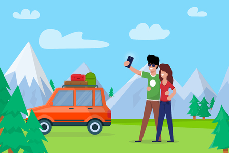 Illustration for Couple Taking Selfie on Background Mountains. Couple Love Embraces and Makes Selfie. Man and Woman go by Car through Forest, Stopped to Make Nature against Background Snowy Mountains. - Royalty Free Image