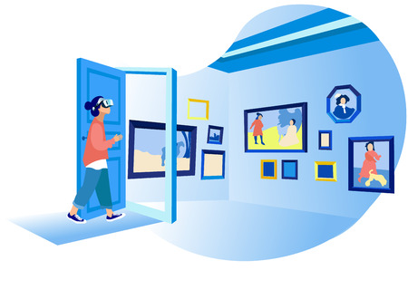Illustration pour Woman in her Room Wearing Virtual Glasses and Looking at Virtual Art Gallery or Museum. Vr Education, Entertainment and Augmented Reality Scene with Female Character. Cartoon Flat Vector Illustration - image libre de droit
