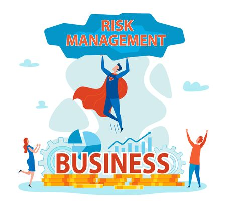 Illustration pour Superhero Holding Stone with Risk Management Flat Cartoon Banner Vector Illustration. Saving Business from Problems. Coins, Gears, Charts and Graphs on Background. People Happy because of Rescuing. - image libre de droit