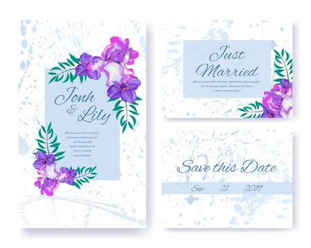 Illustration pour Wedding Invitations Floral Set. Pink, Purple Flowers and Green Leafage on Color Frames. Greeting Text, Spouses Names and Date on Marble Backdrop with Blobs Design. Vector Herbal Blossom Illustration - image libre de droit