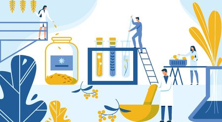 Illustration pour Creation New Formula Drugs from Plant Materials. Strategy and Technology Creating New Drug from Ecological Herbs and Plants. Scientists Put in Test Tubes and Flasks. Vector Illustration. - image libre de droit