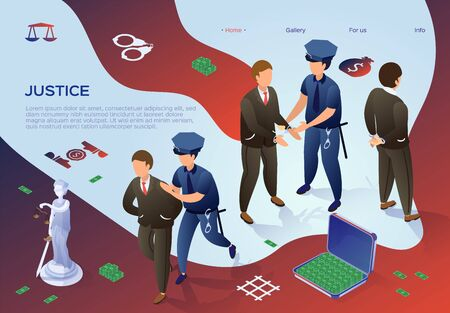 Illustration pour Flyer Lettering Justice, Arrest Officials Flat. Risk Exposure and Punishment. Police Arrested Male Officials for Corruption Activities. Malpractice in Workplace. Vector Illustration. - image libre de droit