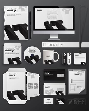 Illustration pour IT Identity Flat Cartoon Vector Illustration. Classic Stationery Template Design such as Notebook, CD Disk, Cup, Flash Drive, Envelope, Business Card, Folder and Letterhead. Doigitality Logotype. - image libre de droit