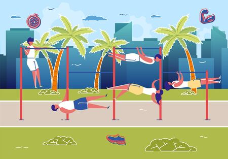 Street Workout Exercises, Man and Woman Training on Bars Flat Cartoon Vector Illustration. Horizontal Bars near Palms on City Background. Strong Sportsmen. Healthy Active Lifestyle.