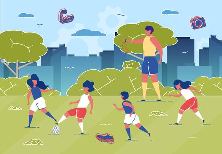 Illustration for Children Playing Football on Grass Field with Ball Flat Cartoon Vector Illustration. Couch with Whistle Training Kids. Girls and Boys Running in Park. Active and Healthy Lifestyle. - Royalty Free Image