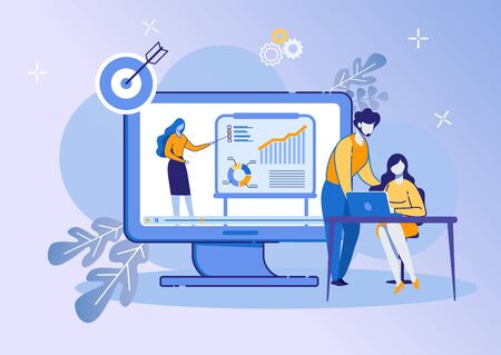 Illustration pour People Listen Woman on Huge Screen with Graphs. Business Training Event. Remote Corporate Teaching Meeting. Online Webinar. Web Conference Employee Training Session. Cartoon Flat Vector Illustration - image libre de droit