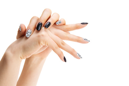 Foto de a woman's nail, designed with nail art - Imagen libre de derechos