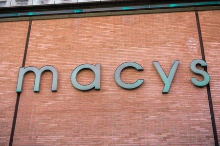 December 07, 2017 Palo Alto / CA / USA - Macys Logo on one of the exterior walls of the store located in Stanford Shopping Mall