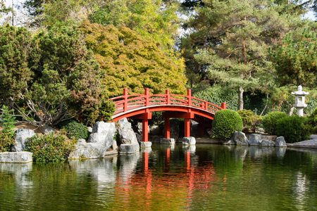 Red bridge over a man made pond, Japanese Friendship Garden, San Jose, San Francisco bay area, California