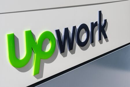 August 1, 2019 Santa Clara / CA / USA - Upwork sign at their HQ in Silicon Valley; Upwork Global Inc, formerly Elance-oDesk, is a global freelancing platform for remote connections and collaborations