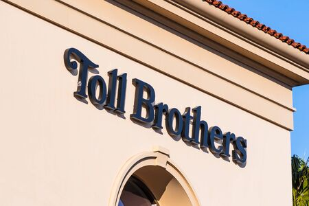 Feb 12, 2020 Santa Clara / CA / USA - Toll Brothers sign at their sale offices in Silicon Valley; Toll Brothers is a home construction company that specializes in building luxury homes