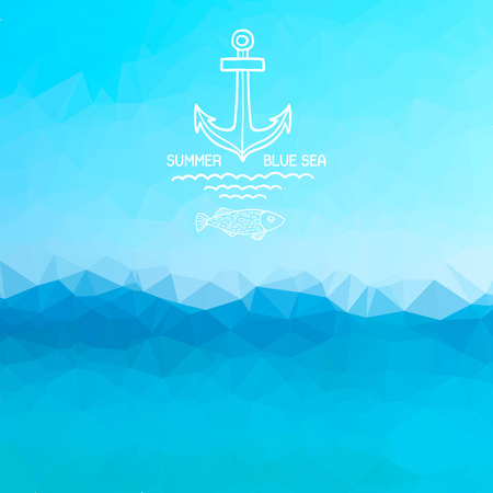 Abstract polygon background. Blue sea background with a pattern anchor and fish. Vector.