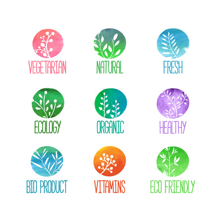 Set of logos or stamps. Silhouettes of twigs, leaves, plants, berries. Colored watercolor texture. Vector illustration