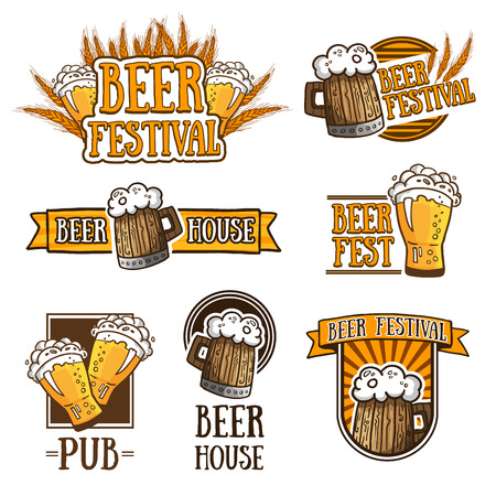Set of color logos, icons, signs, badges, labels and beer. Template design for a bar, pub, beer festival. Beer mugs and wheat. Vector illustration