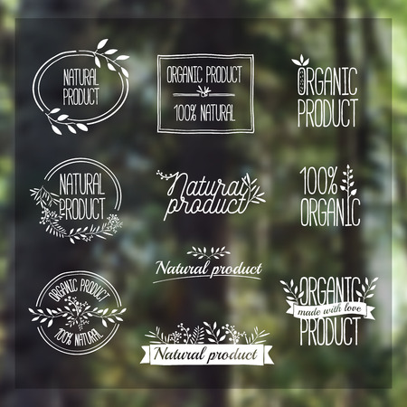 Badges, labels, ribbons, plants elements, wreaths and laurels, branches. Organic natural design template. Hand drawing. Vintage vector on blurred background forest