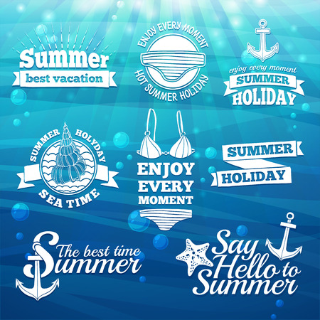 Template design white label, badge, prints for the summer holidays and vacations. Marine elements and swimsuit. Sea background with sun light and bubbles. Vector