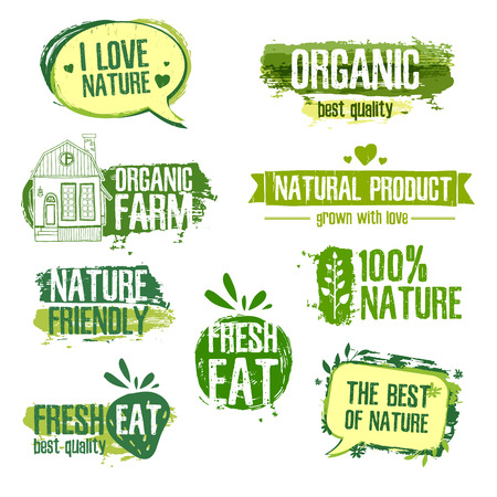 Set of logos for natural products, farms, organic. Floral elements and grungy texture. Green, pastel colors. Vector