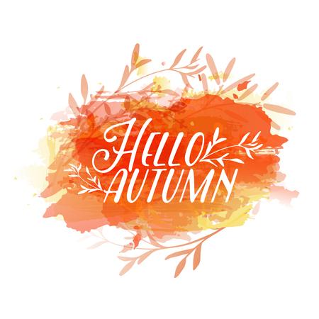 Template design of logo, stamp silhouette Hello, Autumn. Watercolor orange texture. Vector