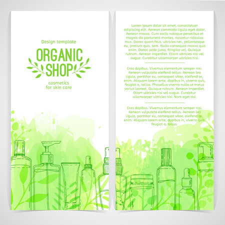 Vertical design template of brochures, booklets, posters, banners about organic cosmetics, organic shop. Design with bottles, tube of decorative cosmetics and leaves, herb. Vector