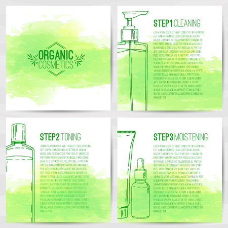 The square design template of brochures, booklets, posters, banners about organic cosmetics. Three-step skin care. Design with bottles of decorative cosmetics. Vector