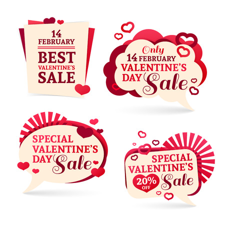 Ilustración de  sets, badges, stickers for Valentines Day promotion. Notice of discounts, price tags sale Valentines Day.  - Imagen libre de derechos