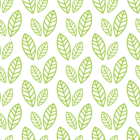 Ilustración de Simple seamless organic wallpaper with a pattern of green leaves and green leaf in a linear style. Good for organic wallpaper, packaging, invitations, organic background, scrap-booking. Vector - Imagen libre de derechos
