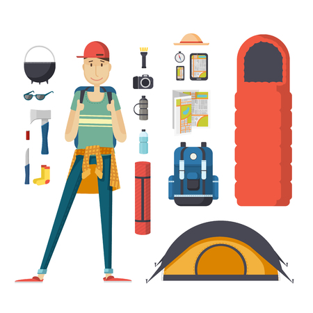 Illustration pour Boy tourist with a backpack and a set of tourist things. Young male traveler with a backpack, a sleeping bag, a tent. Man student ready for the journey, deals, tourism, hiking, camping. - image libre de droit