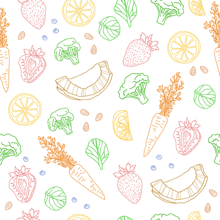 Foto für Seamless pattern with fruits, vegetables, nuts and herbs. vegetarian wallpaper. Background with eating a healthy diet. Black and white, outline, doodle style. illustration - Lizenzfreies Bild